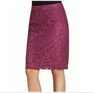 CAbi Frolic Plum Berry Lace Pencil Lined Skirt 922